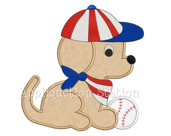 Baseball Puppy Applique Machine Embroidery Design Spring sports boy baby INSTANT DOWNLOAD Three Crosses