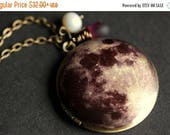 MOTHERS DAY SALE Moon Locket Necklace. Moon Necklace with Frosted Purple Teardrop and Fresh Water Pearl. Moon Photo Locket Necklace. Handmad