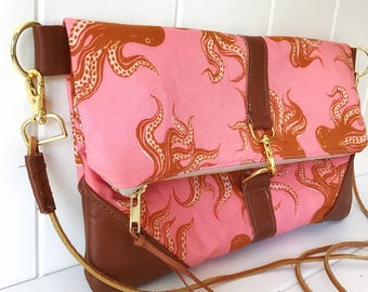 Octopus  and Brown Leather Crossbody Purse or Clutch