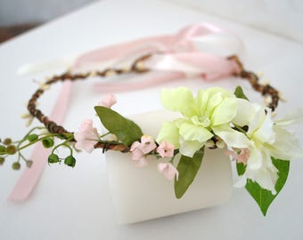 Flower crown wedding, Bridal Ivory Head Wreath, Wedding Flower Crown, greenery flower crown, flower headband