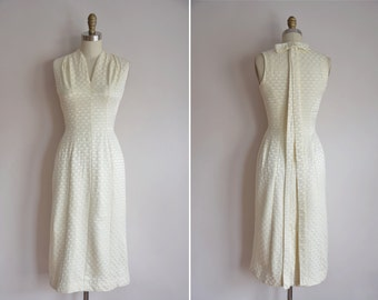 50s Star Gazing dress/ vintage 1950s wiggle dress/ vintage cream bombshell dress