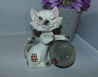 Vintage Ceramic Cat Pin Cushion Tape measure combo Kitschy Kitsch Sewing Japan