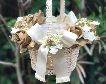 ivory,gold flower girl basket in ivory with satin bows destination wedding basket