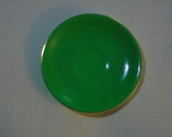 Vintage Steubenville bright green demitasse saucer 5 inches gold trim