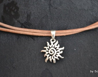 Leather chain with Sun sterling silver