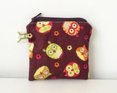 Owls Coin Pouch - Zippered - Small Pouch - Brown, Green, Orange - Woodland Animals - Mini Bag - Lined - Coin Purse - Cute Pouch - Neutral