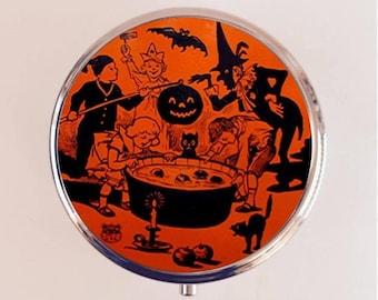 Retro Halloween Pill Box Case Pillbox Holder Stash Trinket Box Bobbing for Apples 1950s