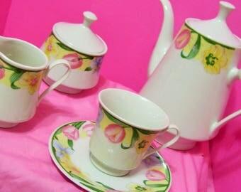 Coffee Tea Set, Lynns Fine China, Pink Tulips, Yellow Daffodils, Service for 8, Coffee Tea Pot, Sugar Creamer, 19 Pieces, Easter Springtime