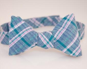 Men's Blue/Pink Plaid Adjustable Bow Tie (Self Tie)