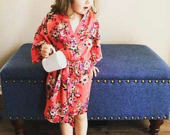 Floral Robe-Childrens Robe,Kids Robe,Bridesmaid Robe,Bridesmaid Gift,Flower Girl Robe,Bridal Party Gift,Bridal,Maternity,Plus Size,Shower
