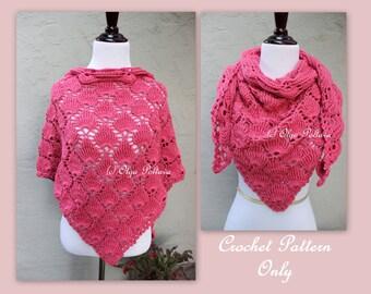 Bright Pink Crochet Scarf Pattern, Triangular Scarf, Lace Shells Shawl, Crochet Pattern, Instant PDF Download