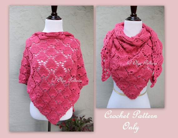 Bright Pink Crochet Scarf Pattern, Triangular Scarf, Lace Shells Shawl, Crochet Pattern, Instant PDF Download