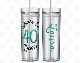 40th birthday gift ideas, Cheers to 40 years,  16oz skinny travel tunbler, 40th birthday for her