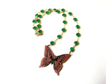 Green Butterfly Necklace - Rhinestone Butterfly Necklace - Handmade Necklace