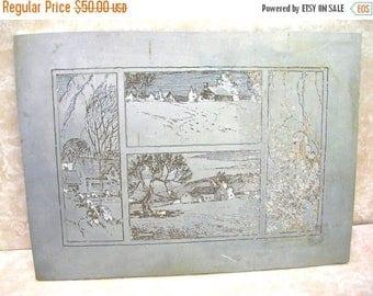 Vintage Book Printing Plate - Landscape - Cabin - Book Plate