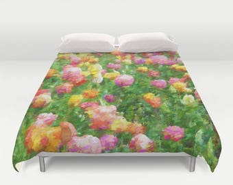 custom floral duvet cover abstract colorful tulips custom bedding custom comforter duvet - Floral Duvet Covers