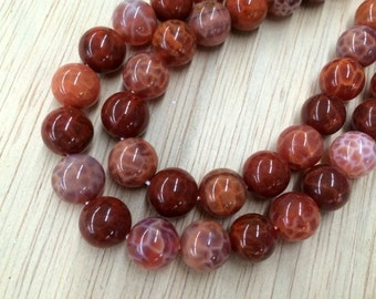 Natural Fire Agate Beads, 10mm Smooth Round - 15 inch strand - eGR-AG334-10