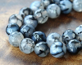Dragon Veins Agate Beads, 10mm Faceted Round, 15 inch strand - eGR-AG20824-10