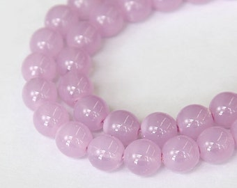 Milky Lilac Czech Glass Beads, 10mm Round Druk - 25 pcs - e37225-10r