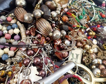 FREE SHIPPING Destash Junk Broken Mixed Jewelry Lot of 4 Pounds Crafting Supplies Making Rhinestones Bangles Pins Brooches steampunk K