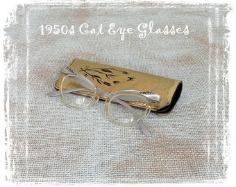 Vintage Cat Eye Glasses, 1950s Glasses, American Optical, Rockabilly Glasses, Clear