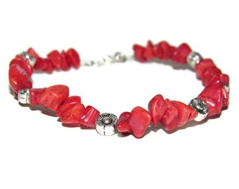 Red Coral Gemstone Chip Bracelet with Flower Charms Semi Precious Jewelry