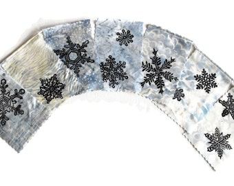 Holiday Gratitude Flags, Snowflakes, (Made with original hand carved block prints of snowflakes)