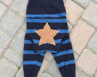 Cloth Diaper Cover, Wool Soaker Cover, Upcycled, Longies, Wool Pants - Blue Stripes with a Star Applique - Size Large