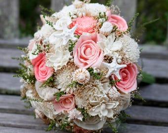 Sola Bouquet, large bouquet, beach bouquet,coral sola Bouquet,sea shell bouquet,Beach sandals,Bridal Bouquet,Sea shell Bouquet,Starfish Bouq