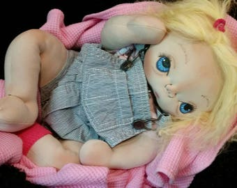 Lucy Jo a newborn soft sculpture realistic plush baby doll by SMOKY MOUNTAIN BABIES