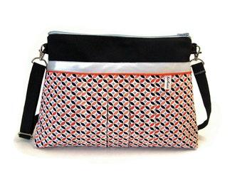 black crossbody bag orange vintage fabric and canvas-zippered pleated handbag-spring shoulder bag