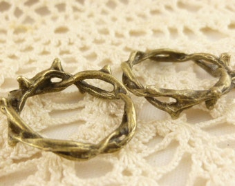 Crown of Thorns Twisted Ring Connector Charm, Antiqued Bronze (6) - A60