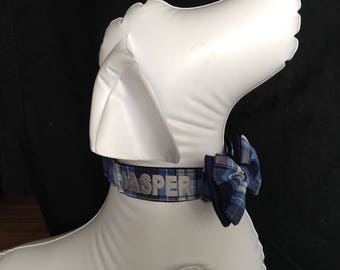 """Embroidered Martingale Dog Collar - With Your Dogs Name - 3/4"""", 1"""" And 1.5"""" width  - Blue Plaid - Size S, M,  L, XL"""