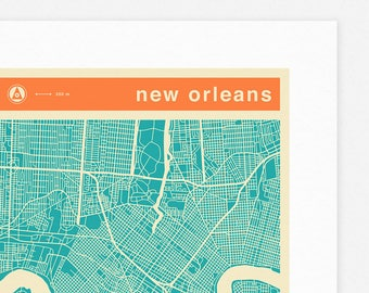 NEW ORLEANS MAP (Giclée Fine Art Print, Photographic Print or Poster Print) colored version
