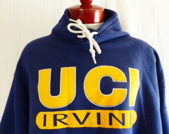 Go UCI Anteaters Zot vintage 90's University of California Irvine navy blue fleece graphic sweatshirt front back logo print Cowl collar XL
