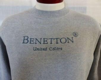 vintage 80's 90's United Colors of Benetton heather gray fleece graphic sweatshirt pastel blue grey embroidered logo crew neck pullover XS