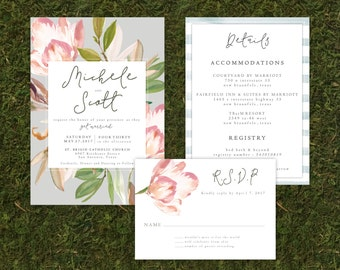 Floral Wedding Invitation, RSVP and Details Card