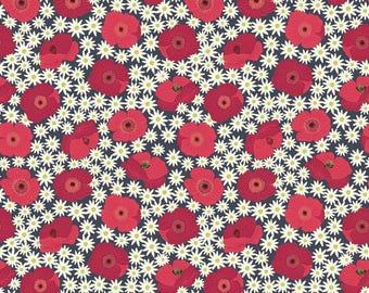 Fat Quarter Red Poppy on Dk Grey Grandma's Garden 100% Cotton Quilting Fabric