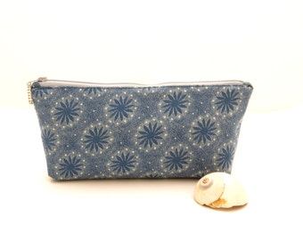 Navy zipper bag, blue print zipper pouch, blue makeup bag, padded zipper bag, blue travel pouch, womens bag, blue pencil bag, navy pouch