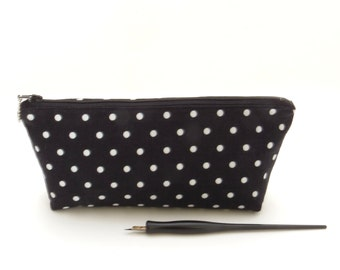Polka dot zipper bag, black zipper bag,  black pencil bag, black zipper pouch, black white zipper bag, black cosmetic bag