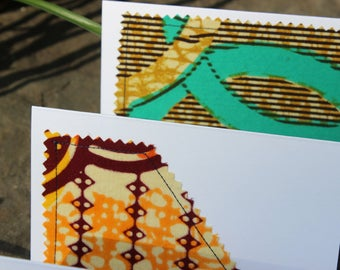 Set of 12 Blank African Wax Print Cotton White Note Cards
