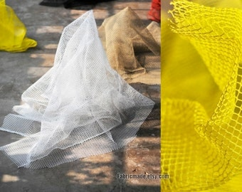 White Black Yellow Red Mesh Netting Fabric For Bags Designer Clothes Hollowed- Fabric 1/2 Yard