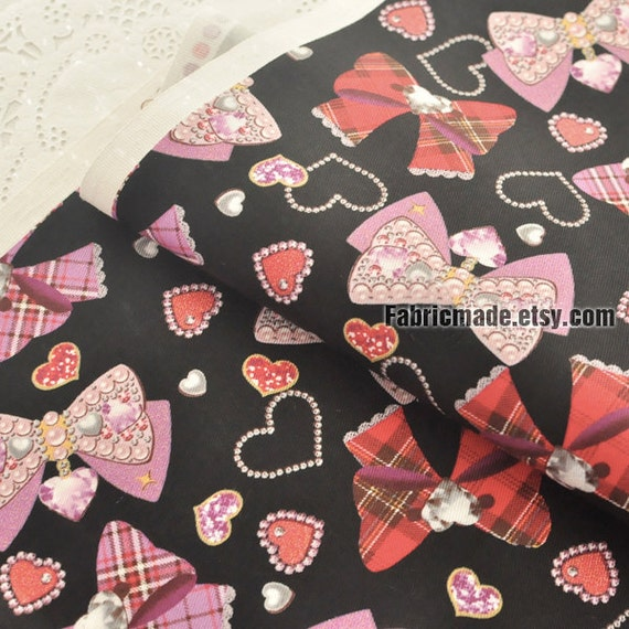 Girl's Cotton Fabric Black Cotton With Pink Purple Lovely Bows Diamond Love hearts - 1/2 yard