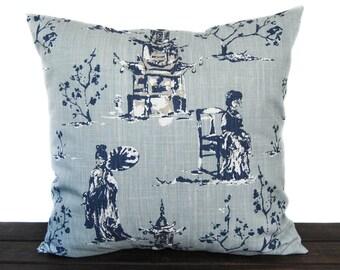 Pillow, Throw Pillow, Pillow Cover, Cushion, Decorative Pillow, navy blue tan white, Asian Toile Regal Navy Blue Slub Canvas