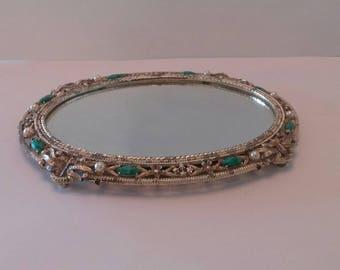 Ormolu Mirrored Tray Jeweled