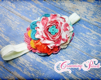 Pink, Orange, Teal, Yellow Hair Piece, M2M Matilda Jane Once Upon a Time, Hair Clip, Hair Accessory, Made to Match Headband, Turquoise, Aqua
