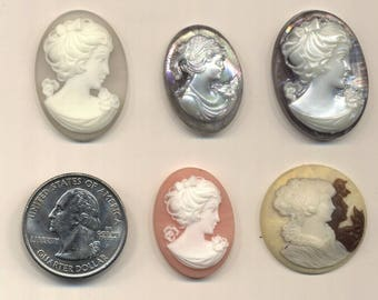 Five Plastic Cameos for Crafts