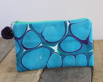 Ripples Hand Marbled Zip Pouch, Cosmetic Pencil Makeup Bag Pouch Case for Kids College School Teens Women Organize