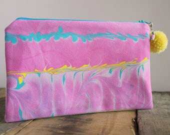 Hand Marbled Zip Pouch - Pink, Blue & Yellow - item #8046