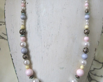 Vintage Beaded Necklace, white, blue, pink, silver, 1990's, hollywood regency, rosesandbutterflies, vintage jewelry